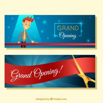 Free vector Opening banners with smiley character #23482
