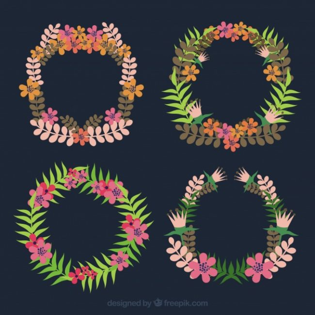 Free vector Pack of decorative floral wreaths #23336