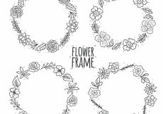 Free vector Pack of four hand drawn floral wreaths #23338
