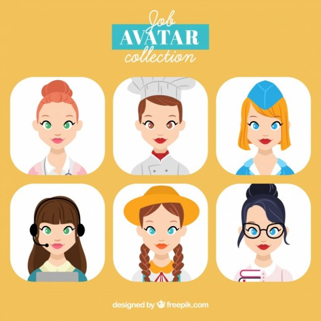 Free vector Pack of young women avatas #24236