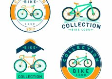 Free vector Retro bicycle stickers pack #23508