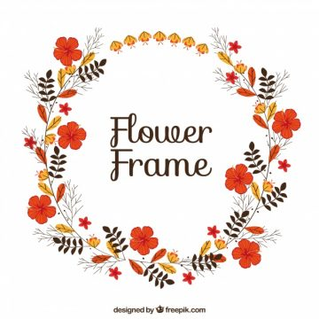 Free vector Round floral frame with beautiful flowers #24040