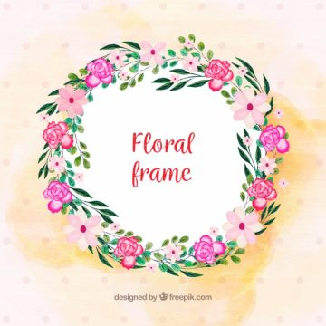 Free vector Round floral frame with watercolor flowers #24016