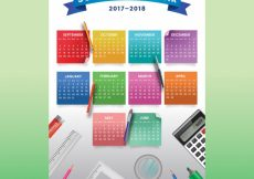 Free vector School calendar with colorful notes #24405