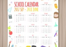 Free vector School calendar with different elements #23628