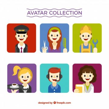 Free vector Smiley worker avatars collection #24383