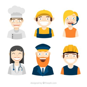 Free vector Smiley workers avatars with flat design #24385