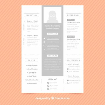 Free vector Stylish cv gray template #23980