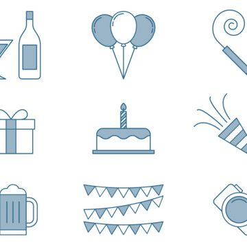 Free vector Birthday Icons Thin Line Set #23599