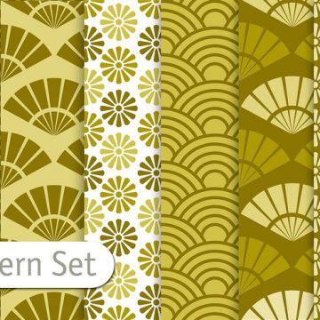 Free vector Olive Green Orient Pattern Set #24338