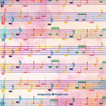 Free vector Watercolor background with pentagrams and musical notes #23568