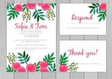 Free vector Watercolor wedding card with elegant roses #23894