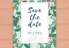Free vector Wedding invitation with floral background #23948