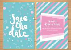 Free vector Wedding invitation with fun drawings #23890