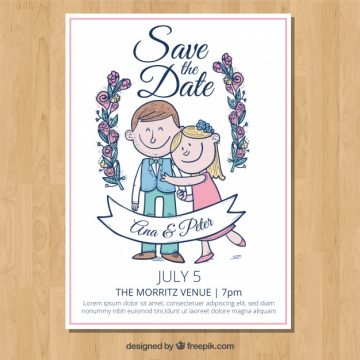 Free vector Wedding invitation with smiley couple #23946