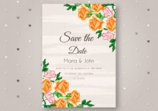 Free vector Wedding invitation with watercolor roses #23930