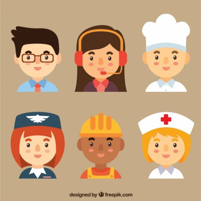 Free vector Workers avatars with lovely style #24240