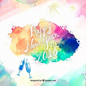 Free vector Abstract new year background 2018 with watercolor stains #24434