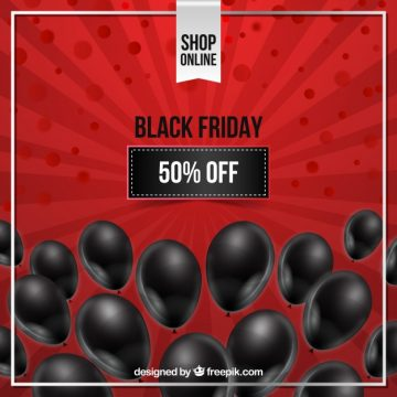 Free vector Black friday design with black balloons #24450