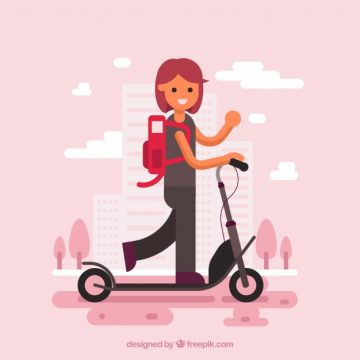 Free vector Girl on electric scooter #24442