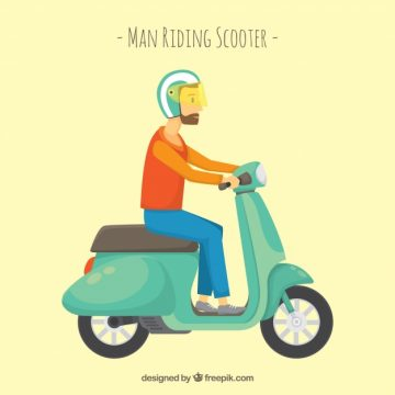 Free vector Hipster on electric scooter #24444