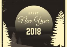 Free vector New year vintage background with landscape 2018 #24433