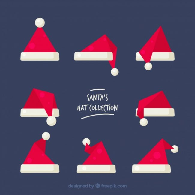 Free vector Santa claus hat set #24437